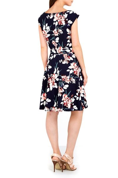 Wallis Navy Floral Printed Dress