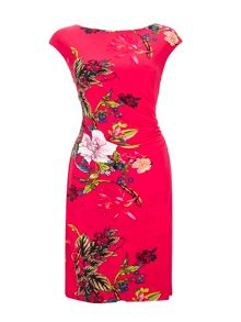 Wallis Pink Oriental Floral Wrap Dress