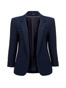 Wallis Navy Ribbed Ponte Jacket