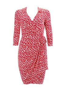 Wallis Red Geo 3/4 Sleeve Wrap Dress