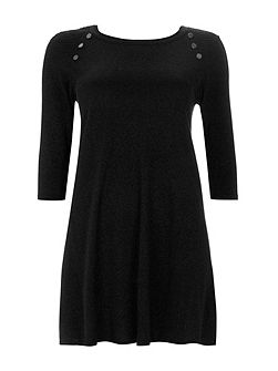 Black Button Neck Swing Dress