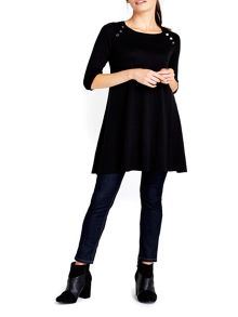 Wallis Black Button Neck Swing Dress