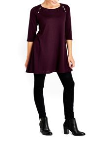 Wallis Berry Button Neck Swing Dress