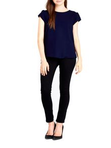 Wallis Navy Zip Shell Top
