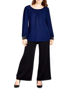 Wallis Navy Embellished Cuff Top