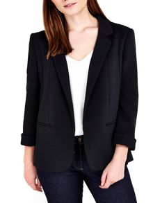 Wallis Petite Black Ribbed Ponte Jacket