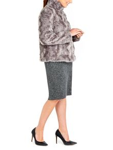Wallis Short Fur Funnel Coat