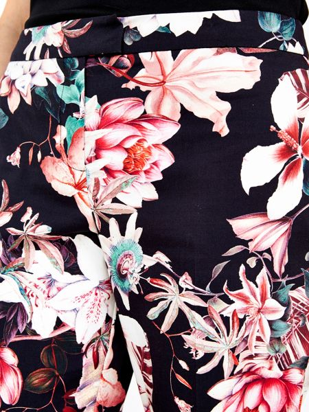 Wallis Black Floral Trouser