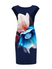 Wallis Navy Floral Crepe Shift Dress