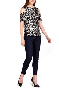 Wallis Petite Animal Print Cold Shoulder Top