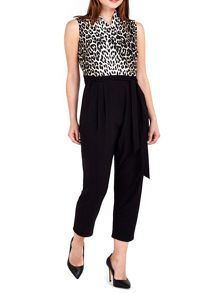 Wallis Petite Black Animal Print Jumpsuit