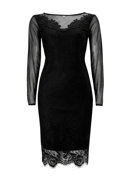 Wallis Black Lace Trim Mesh Dress