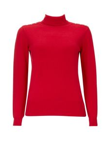Wallis Red Plain Polo Neck Jumper