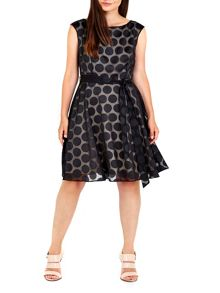 Wallis Black Burnout Spot Fit and Flare Dress