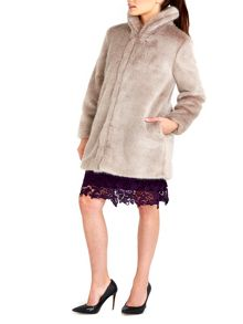 Wallis Mink Plush Fur Midi Coat