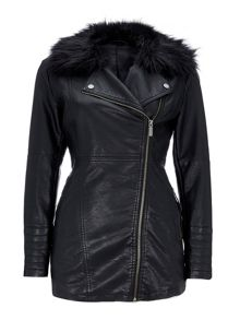 Wallis Black Leather Look Midi Biker Coat