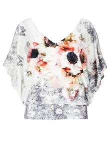 Wallis Grey Floral Blouson Top