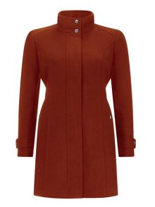 Wallis Petite Rust Funnel Coat