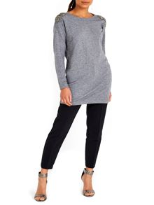 Wallis Grey Embellished Shoulder Dres