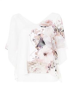 Petite Floral Overlay Top