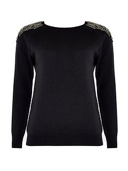 Petite Black Beaded Jumper