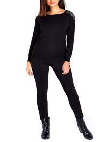 Wallis Petite Black Beaded Jumper