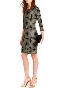 Wallis Gold Geo Sparkle Dress