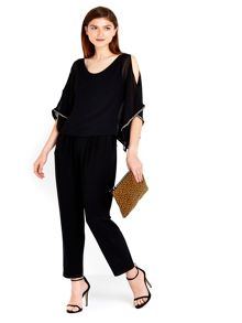 Wallis Black Diamante Trim Jumpsuit
