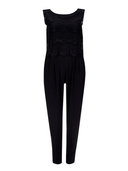 Wallis Black Lace Pop Top Jumpsuit