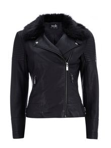 Wallis PU Fur Collar Biker