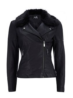 PU Faux Fur Collar Biker