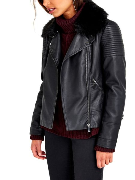 Wallis PU Faux Fur Collar Biker
