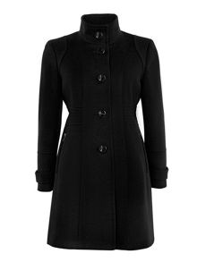 Wallis Black Zip Pocket Funnel Coat