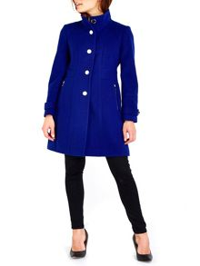Wallis Cobalt Zip Pocket Funnel Coat