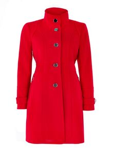 Wallis Red Zip Pocket Funnel Coat