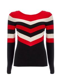 Wallis Red Chevron Stripe Jumper