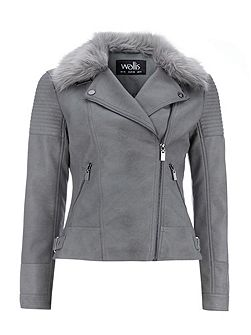 Grey PU Fur Collar Biker