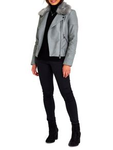 Wallis Grey PU Fur Collar Biker