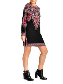 Wallis Petite Black Printed Tunic Dress