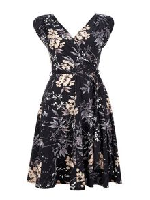 Wallis Neutral Floral Wrap Dress