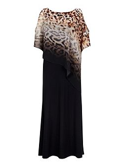 Ombre Animal Printed Overlay Maxi Dress