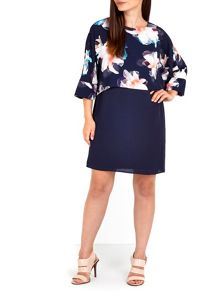 Wallis Blue Floral Overlay Dress