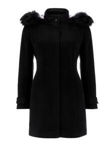 Wallis Black Hood Duffle Coat