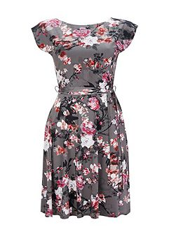 Grey Blossom Floral Fit and