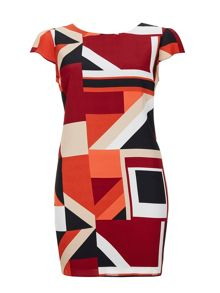 Wallis Red Colourblock Tunic Dress