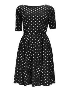 Wallis Black Spot Fit and Flare Dress