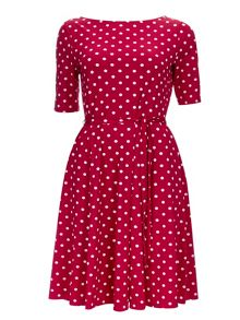Wallis Plum Spot Fit and Flare Dress