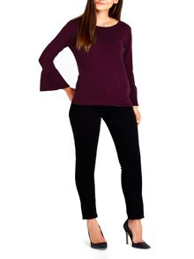 Wallis Berry Flare Sleeve Jumper