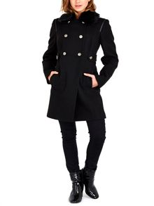 Wallis Black Fur Collar Coat