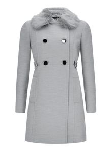 Wallis Grey Fur Collar Coat